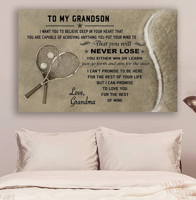 tennis Canvas and Poster ��� grandma to grandson ��� never lose wall decor visual art - GIFTCUSTOM