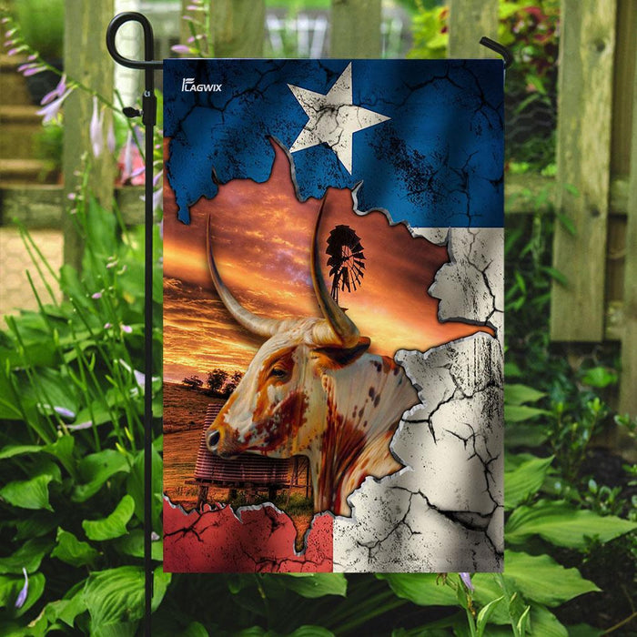 Texas Longhorn Flag | Garden Flag | Double Sided House Flag - GIFTCUSTOM