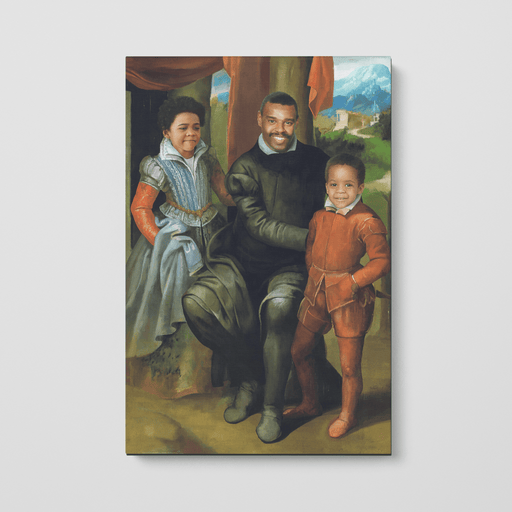 The Family of Three | Person Portrait Photo Upload Gift Custom Canvas, Poster | Personalized Gift - GIFTCUSTOM