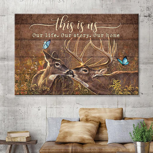 This Is Us Deer Couple Horizontal Canvas Anniversay Gift Couple Gift - GIFTCUSTOM