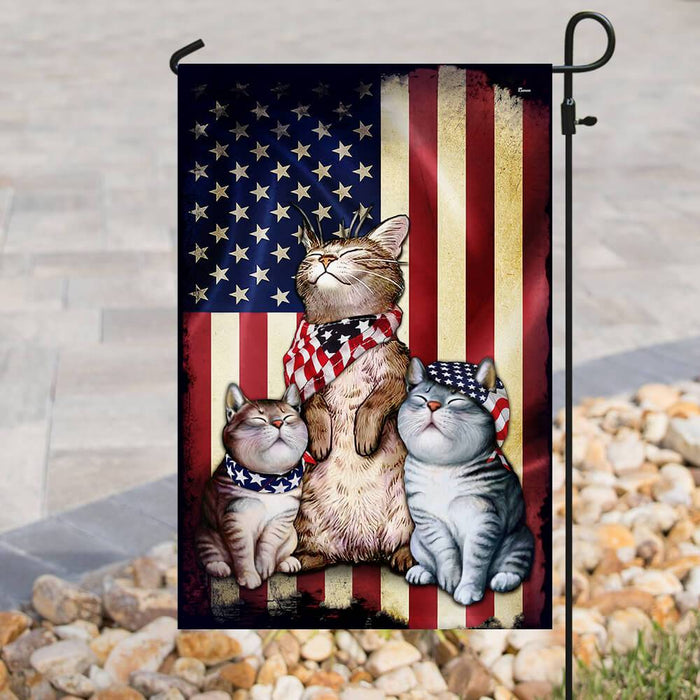 Three Cats American Flag | Garden Flag | Double Sided House Flag - GIFTCUSTOM