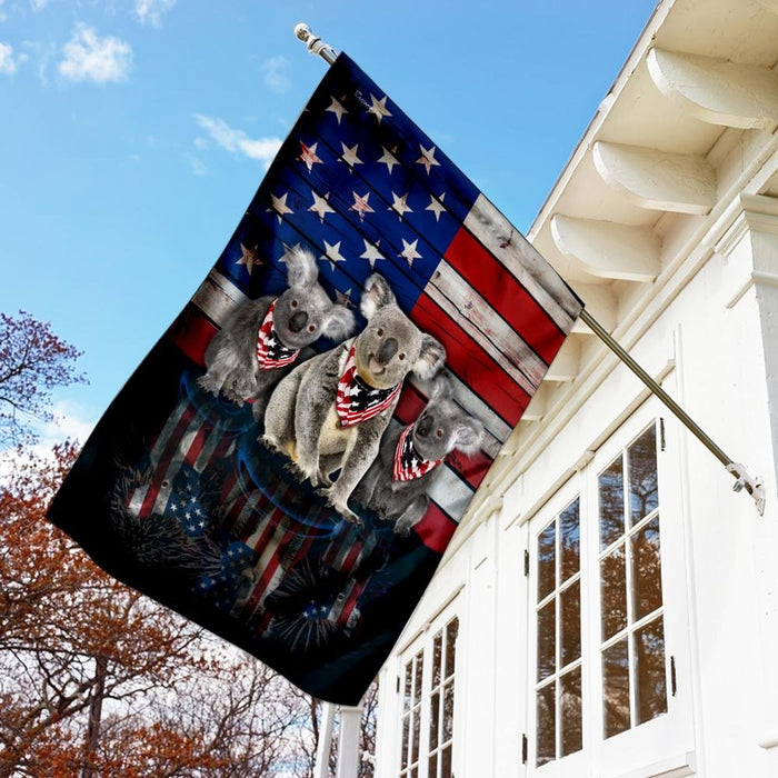 Three Koalas American Flag | Garden Flag | Double Sided House Flag - GIFTCUSTOM