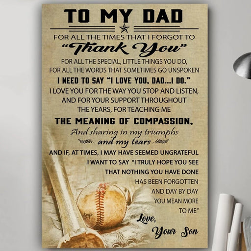 To my dad from son baseball poster gift for dad for fathers day - GIFTCUSTOM