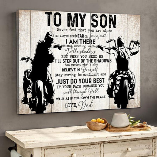 To My Son From Dad Biker Motorcycles Lover Poster Canvas | Meaningful Gift For Son - GIFTCUSTOM