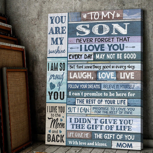 To My Son You Are My Sunshine Canvas, gift for son, gift from mom - GIFTCUSTOM