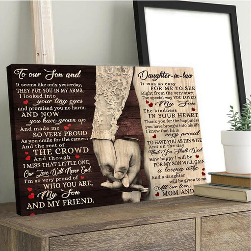 To Our Son And Daughter In Law Horizontal Canvas | Gifts for family, Wedding gift, for daughterinlaw - GIFTCUSTOM