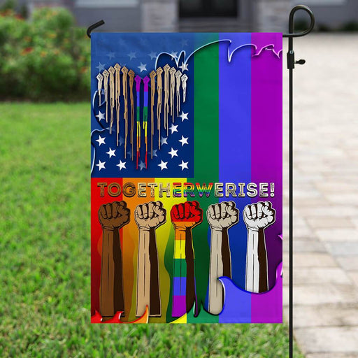 Together We Rise LGBT Flag | Garden Flag | Double Sided House Flag - GIFTCUSTOM