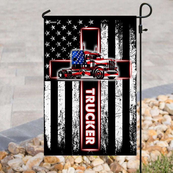 Trucker American US Flag | Garden Flag | Double Sided House Flag - GIFTCUSTOM