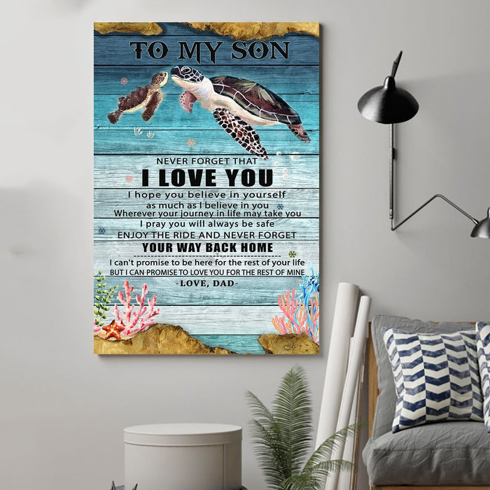 Turtle Canvas and Poster ��� Dad to son ��� Your way back home wall decor visual art - GIFTCUSTOM