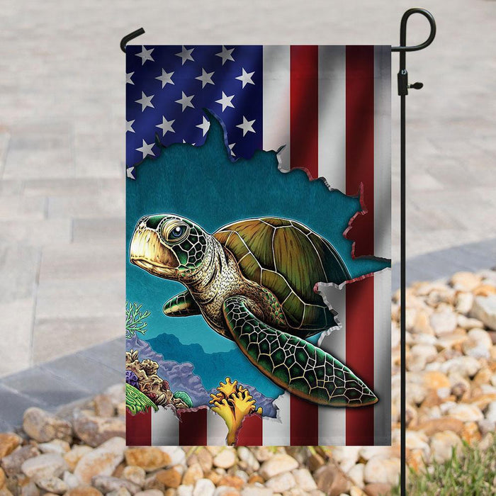 Turtle Flag | Garden Flag | Double Sided House Flag - GIFTCUSTOM