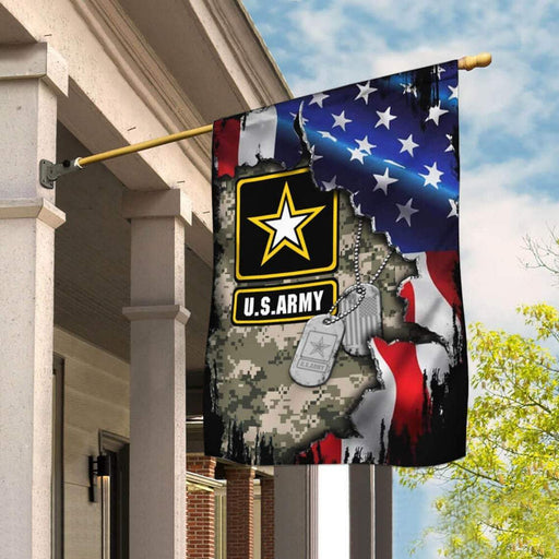 US Army Veteran With Name Tags Flag | Garden Flag | Double Sided House Flag - GIFTCUSTOM