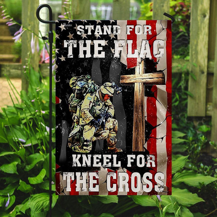 Veteran Stand For The Flag Kneel For The Cross Flag | Garden Flag | Double Sided House Flag - GIFTCUSTOM