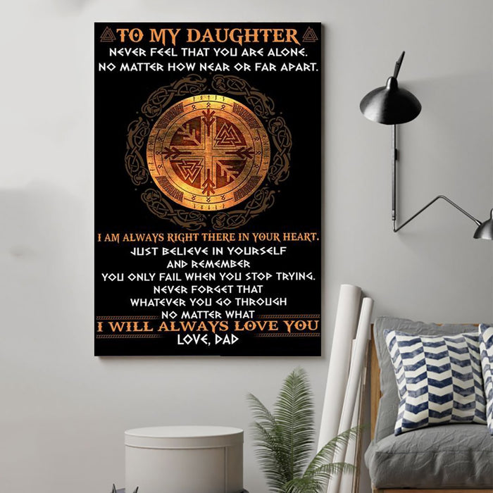 Viking Canvas and Poster ��� Dad Daughter ��� never feel that wall decor visual art - GIFTCUSTOM