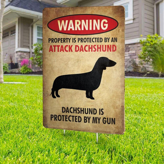 Warning Beware of Dachshund Yard Sign (24 x 18 inches) - GIFTCUSTOM