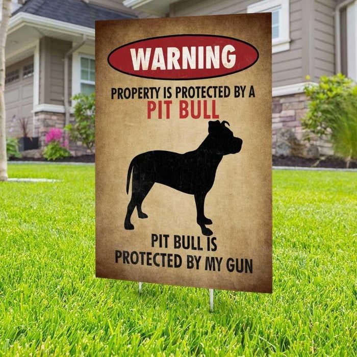 Warning Beware of Pitbull Yard Sign (24 x 18 inches) - GIFTCUSTOM
