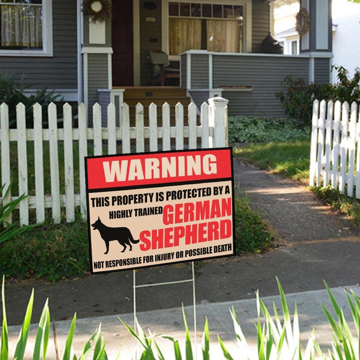 Warning This Property Is Protected By German Shepherd Yard Sign (24 x 18 inches) - GIFTCUSTOM