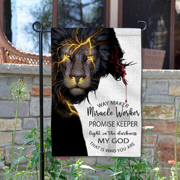 Way Maker Miracle Worker Promise Keeper Light In The Darkness, My God That Is Who You Are Garden Flag God Way Maker Garden Flag - GIFTCUSTOM