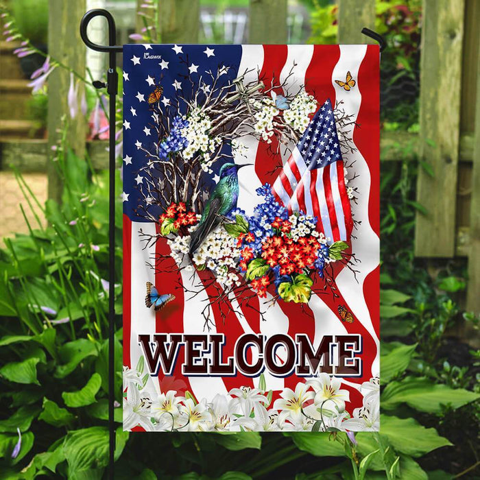 Welcome American Flag | Garden Flag | Double Sided House Flag - GIFTCUSTOM