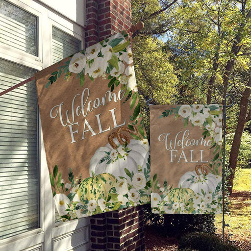 Welcome Fall Flags, Welcome Flags, House Flags, Garden Flags, Porch Flags, Yard Flags All Over Printed - GIFTCUSTOM