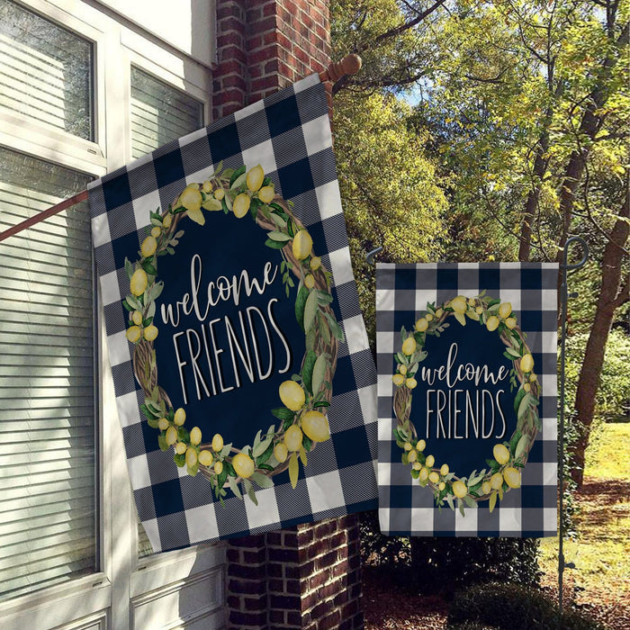Welcome Flags, House Flags, Garden Flags, Porch Flags, Yard Flags, Farmhouse Rustic Chic, Blue Buffalo Check Plaid Lemon Wreath Desgin - GIFTCUSTOM