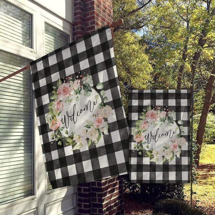 Welcome, Garden House Flag Monogram Flag Farmhouse Garden Farmhouse Flag All Over Printed - GIFTCUSTOM