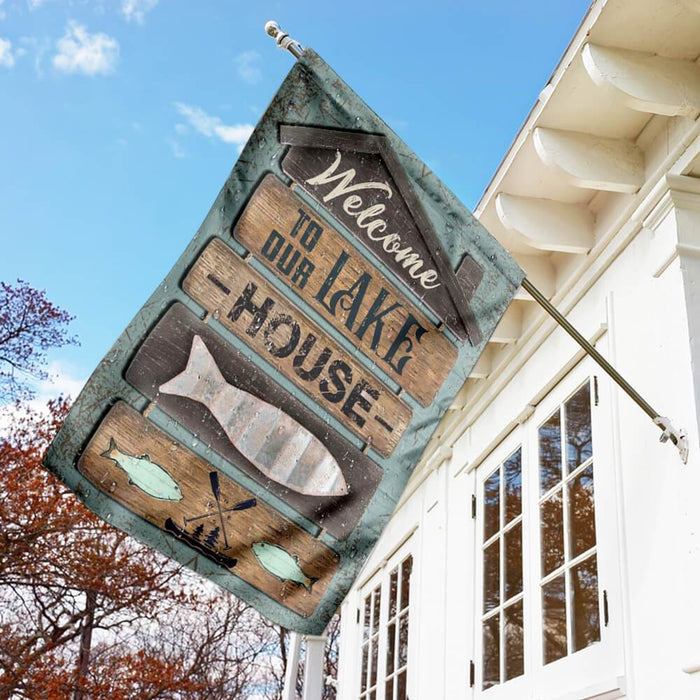 Welcome To Our Lake House Flag | Garden Flag | Double Sided House Flag - GIFTCUSTOM