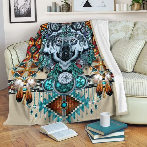 Wolf Native American Pattern Blanket - GIFTCUSTOM