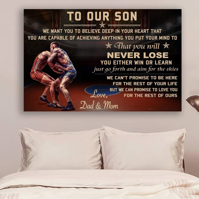 Wrestling Canvas and Poster | Dad & mom to son | never lose | wall decor visual art - GIFTCUSTOM