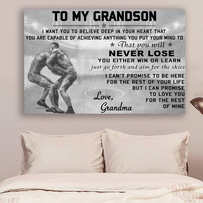 Wrestling Canvas and Poster ��� grandma to grandson ��� never lose vs1 wall decor visual art - GIFTCUSTOM