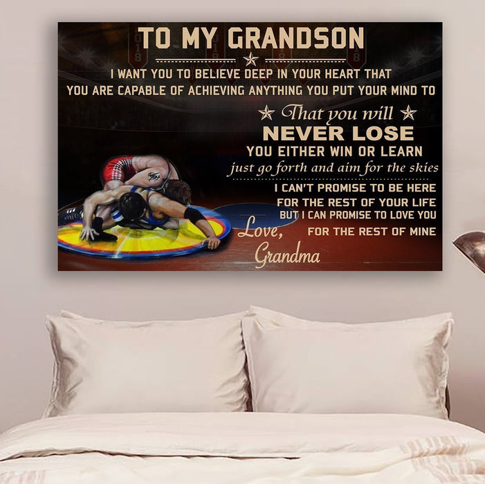 Wrestling Canvas and Poster ��� grandma to grandson ��� never lose vs4 wall decor visual art - GIFTCUSTOM