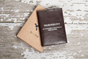 Wanderlust Genuine Leather Passport Cover