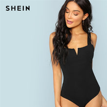 Load image into Gallery viewer, SHEIN Black V-Cut Front Bodysuit Sexy Straps Plain Skinny Sleeveless Bodysuits Women Autumn Stretchy Minimalist Bodysuits