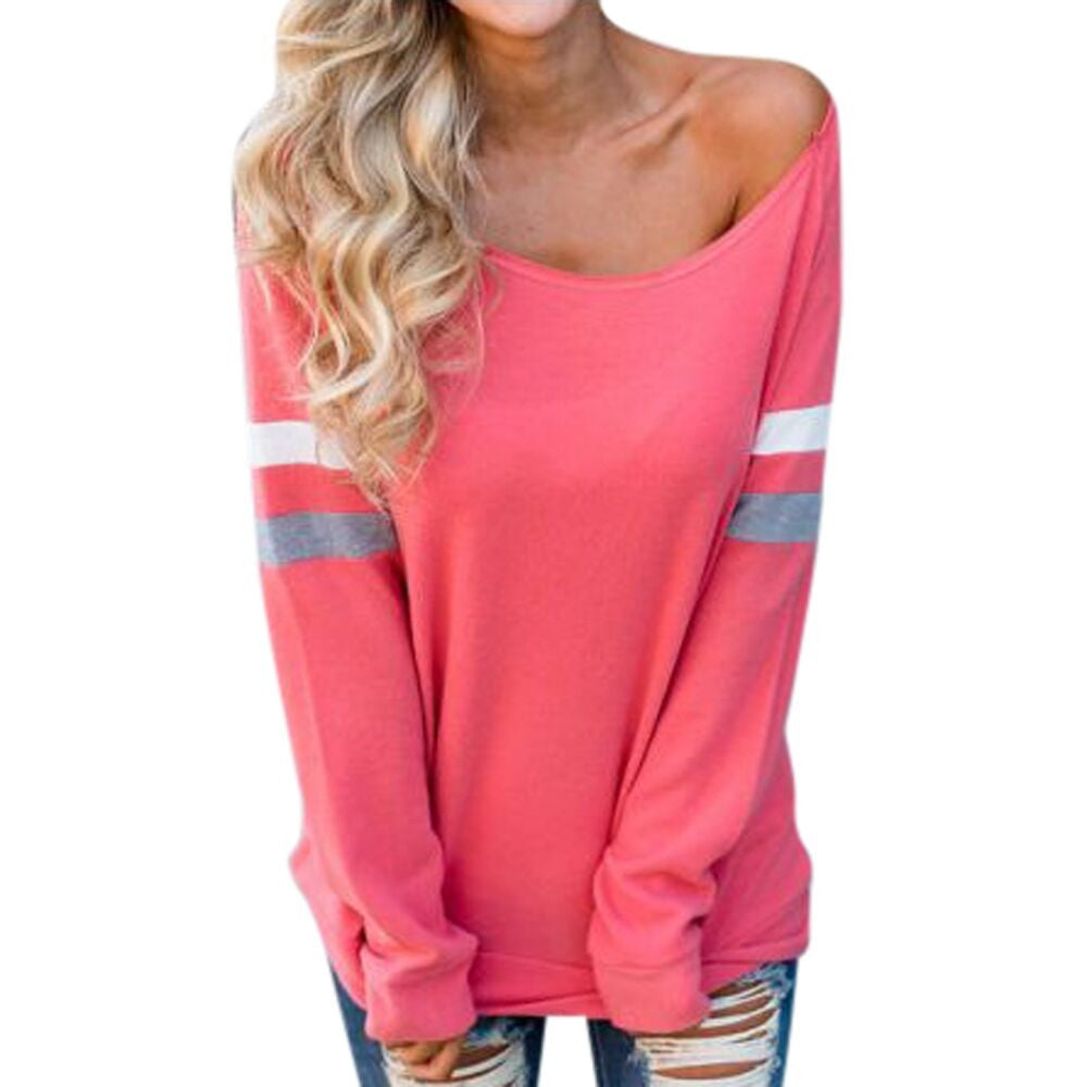 Fashion Womens Ladies Long Sleeve Splice Blouse Sexy Tops Clothes T-Shirt