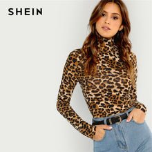 Load image into Gallery viewer, SHEIN Brown Highstreet Office Lady High Neck Leopard Print Fitted Pullovers Long Sleeve Tee 2018 Autumn Casual Women T-shirt Top