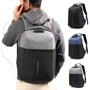 Multifunction Anti-theft Lock Casual Backpack with Invisible USB Charging Port
