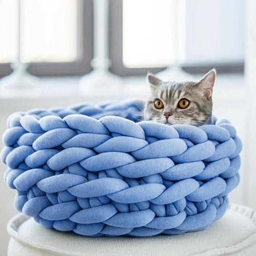 5 Colors DIY Hand-woven Pet Nest Round Soft Coarse Crochet Chunky Knitted Kennel Mat Core Cushion Cosy Cat Dog Pet House Basket