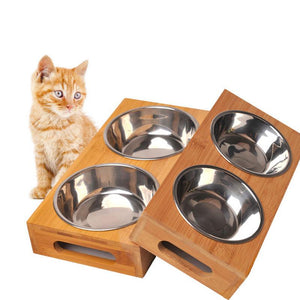 Durable Pet Stainless Steel Double Bowl Set Wooden Dish Bamboo Tableware For Dogs Cats Portable Pet Feeding Bowl With Handles