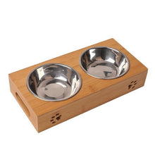 Load image into Gallery viewer, Durable Pet Stainless Steel Double Bowl Set Wooden Dish Bamboo Tableware For Dogs Cats Portable Pet Feeding Bowl With Handles