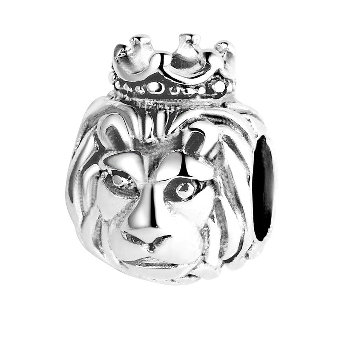 Shiny & Bright 100% 925 Sterling Silver Lion Head Bead To Fit DIY Jewelry