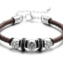 Load image into Gallery viewer, Men's Stainless Steel Lion Bracelet With Braided Leather Rope & Adjustable Chain