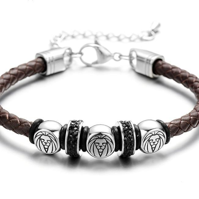 Men's Stainless Steel Lion Bracelet With Braided Leather Rope & Adjustable Chain