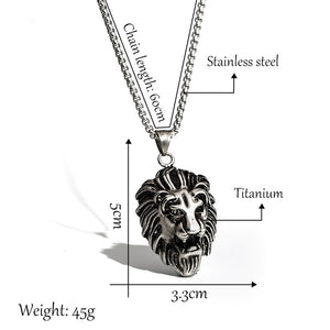 Richard The Lion Heart Unisex 'Titanium Steel' Lion Necklace