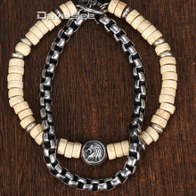 Load image into Gallery viewer, 'Awesome' Wood Bead & Companion Stainless Steel Box Chain With Smart Lion Pendant