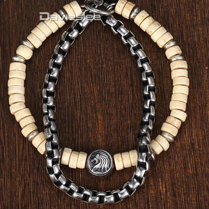 'Awesome' Wood Bead & Companion Stainless Steel Box Chain With Smart Lion Pendant