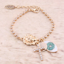 Load image into Gallery viewer, Beautiful and Elegant Lion Head And Crystal Studded Cross Bracelet
