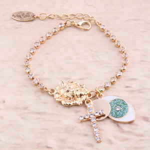 Beautiful and Elegant Lion Head And Crystal Studded Cross Bracelet