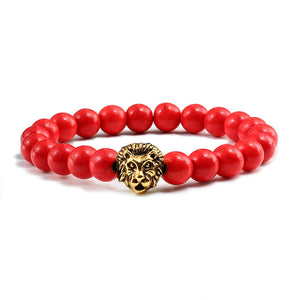 'Lovely' Gold Lion Head Bracelet With Cheerful Red Natural Stone Beads!