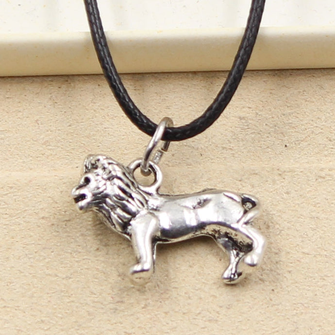 Durable Black Faux Leather Chord 'Choker' With Silvertone Lion Charm