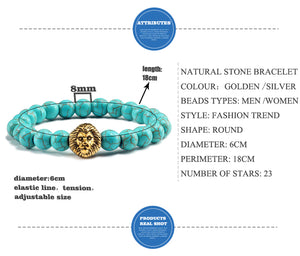 Classic Gold Lion Head With Natural Stone Bead Bracelet In Turquoise!