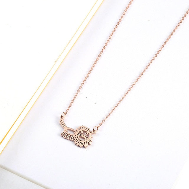 Cute Rose Gold Baby Lion Pendant & Necklace -- Really Cute!